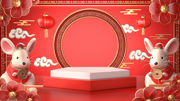3d render of chinese rat for celebrate chinese new year Premium Photo