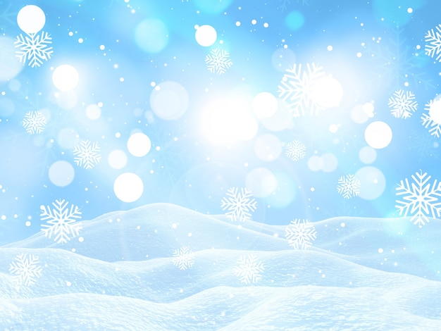 3d render of a christmas landscape with falling snowflakes Free Photo