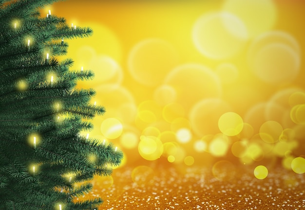 3d render of a christmas tree on a bokeh lights background Free Photo