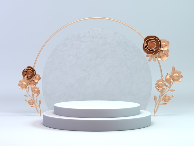 3d render classic white and gold podium for cosmetic or any object decorate with flower ring. background object display product. Premium Photo
