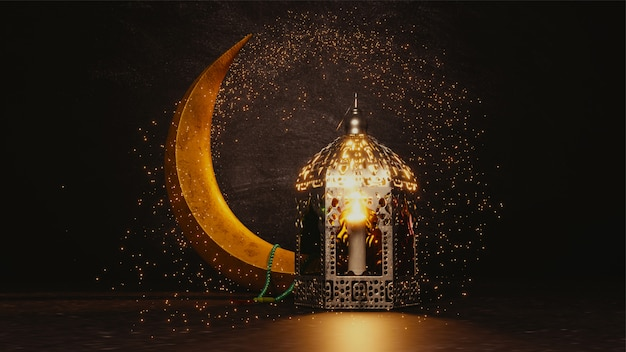 3d render of crescent moon with glitter effect Premium Photo