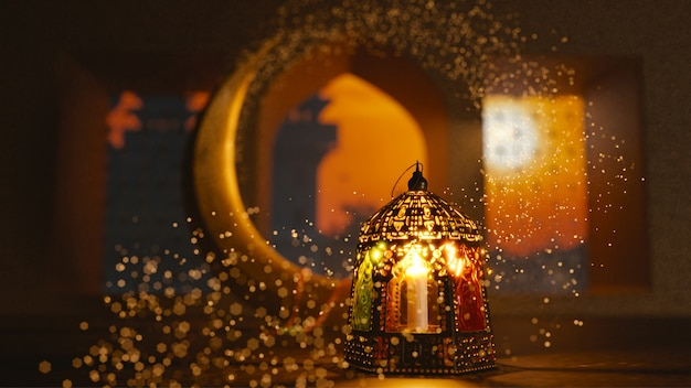 3d render of crescent moon with illuminated lantern Premium Photo