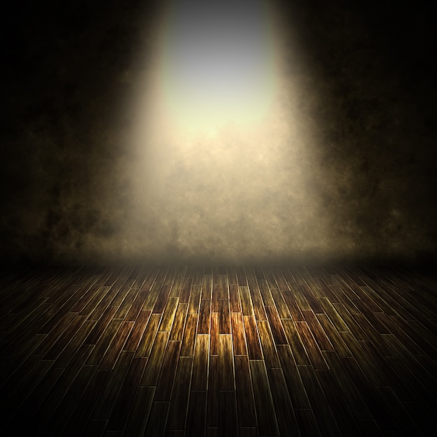 3d render of a dark interior with spotlight shining down Free Photo