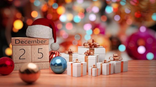 3dレンダリング。 12月25日、木製ブロックカレンダーの美しいクリスマスの壁の日付。 Premium写真