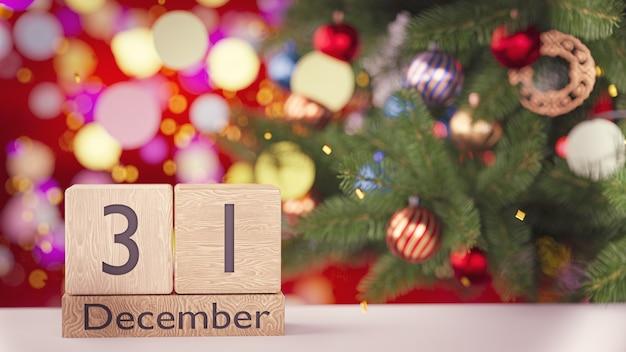 3dレンダリング。 12月31日、木製ブロックカレンダーの美しい新年とクリスマスの壁の日付。 Premium写真