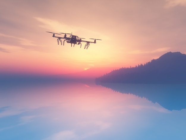 3d render of a drone flying over a sunset ocean Free Photo