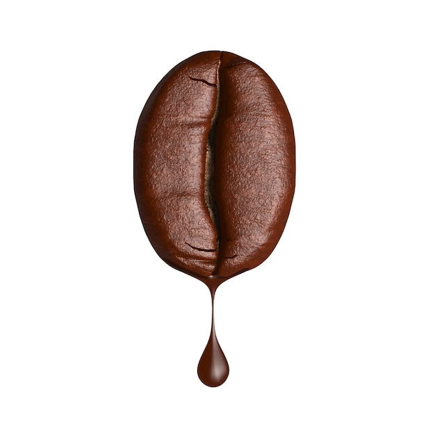 3d render drop of coffee dripping from coffee bean on white background Premium Photo