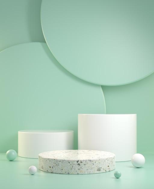 3d визуализация пустой чистый минимальный макет три шага дисплея с зеленым мятным цветом абстрактный фон иллюстрации Premium Фотографии