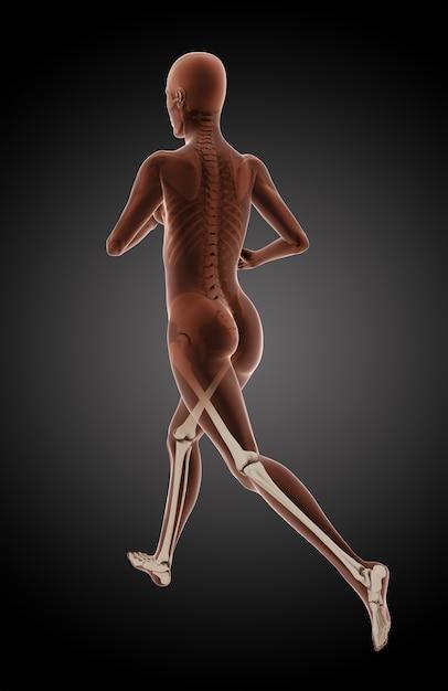 Rendering 3d di un medico femminile in esecuzione con le gambe evidenziate Foto Gratuite