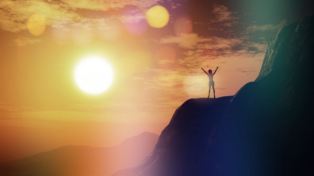 3d render of a female with arms raised on a cliff against a sunset sky Free Photo