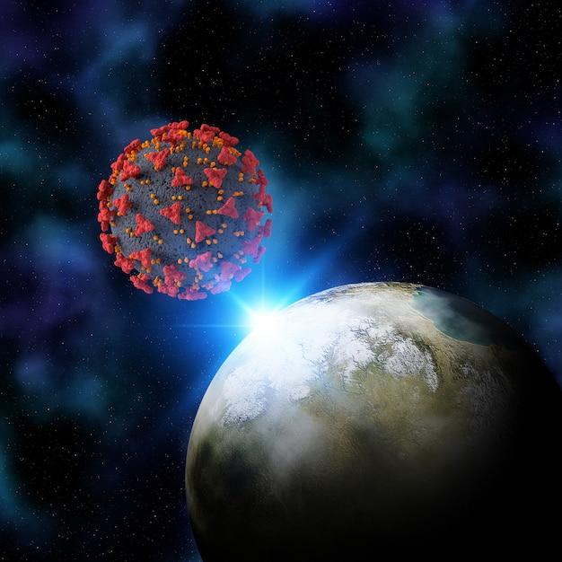 Rendering 3d di uno sfondo di spazio immaginario con la cellula del virus terra e coronale Foto Gratuite