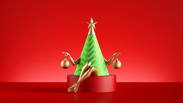 3d render of funny christmas tree character  sits on the round pedestal. Premium Photo