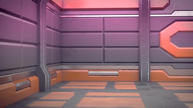 3d render of futuristic design spaceship interior. render Premium Photo