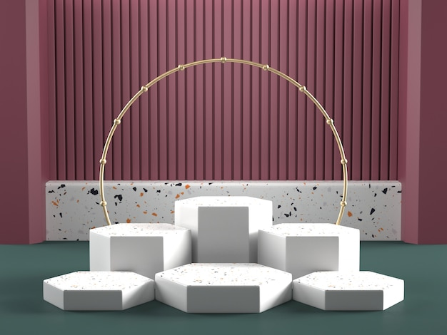 3d render of geometric podiums with golden arc and colorful wall Premium Photo