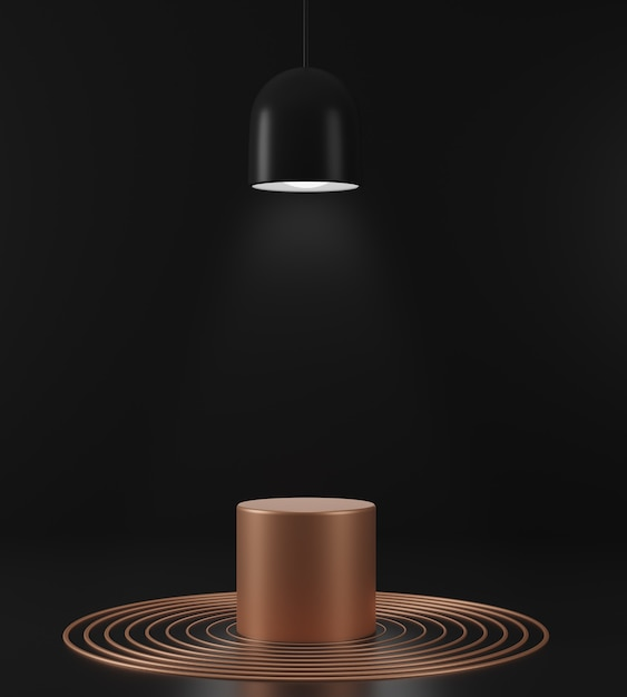 3d render geometrical abstract background scenes with gold podium scenes in black background. luxury minalist mockup. Premium Photo