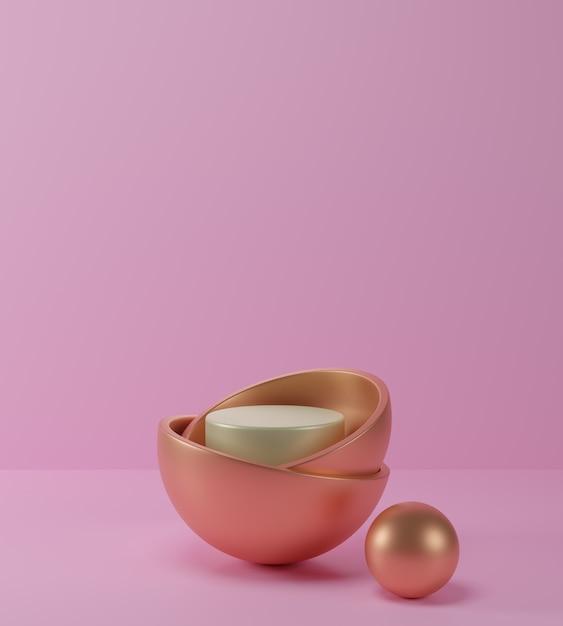 3d 렌더링 기하학적 추상 파스텔 배경 금색과 흰색 연단, 분홍색 배경, 럭셔리 미니 멀 모형 장면. 프리미엄 사진