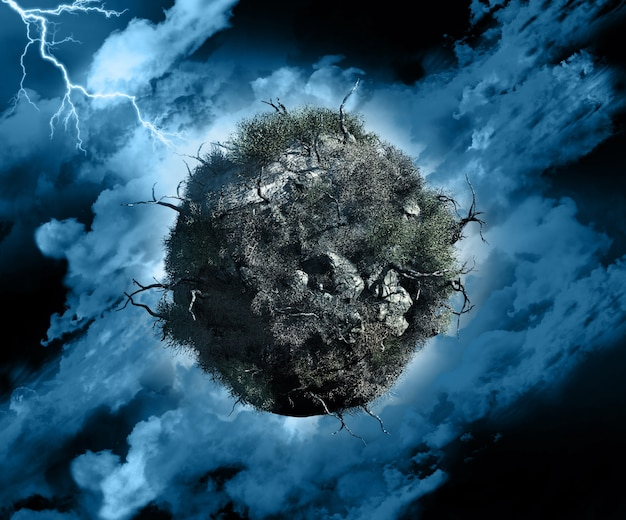 3d render of a globe with dead trees and bushes in a stormy sky with lightening Free Photo