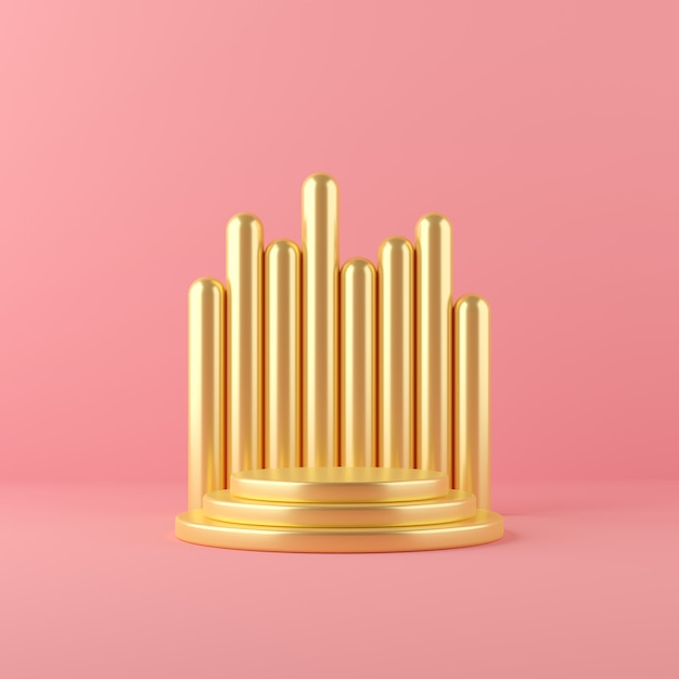 3d render gold abstract geometry shape podium scene for display and product Premium Photo