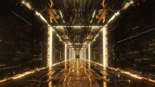 3 dレンダリングゴールドデジタル未来的なネオントンネル Premium写真
