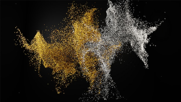 3d render of golden and silver mixed glitter dust particle on bl Premium Photo