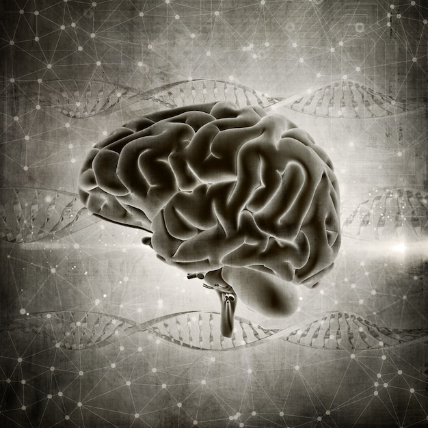 3d render of a grunge style brain image on a dna strands background Free Photo