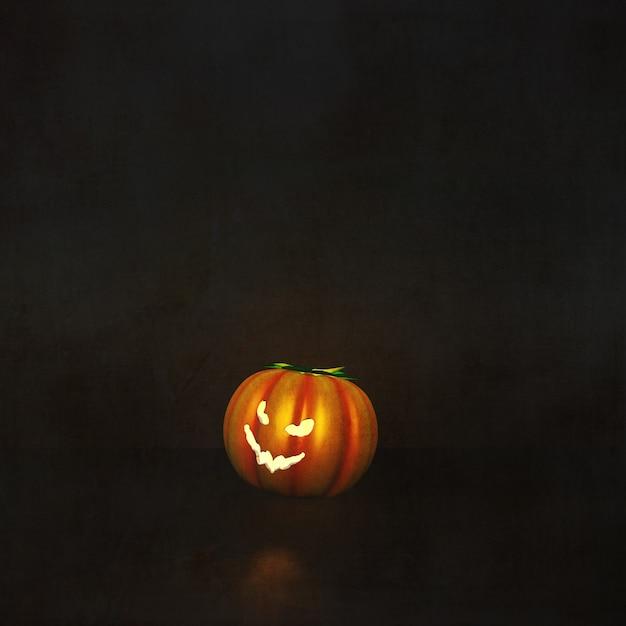 3d render of a halloween background with pumpkin in grunge interior Free Photo