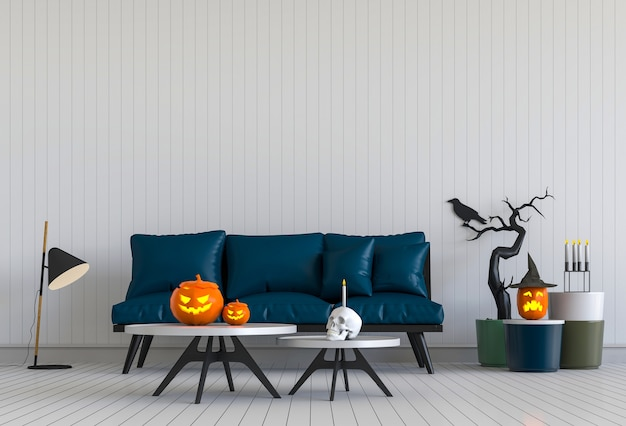 3d-рендеринг хэллоуин в гостиной с тыквами Premium Фотографии