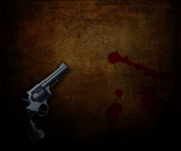 3d render of a handgun on a grunge background with blood splatters Free Photo