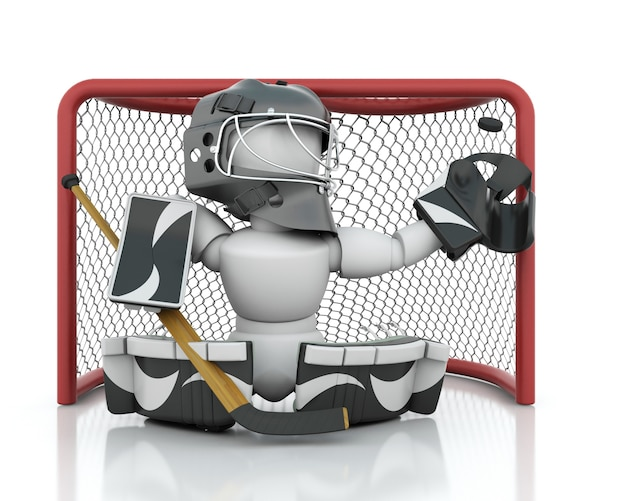 3d render of an ice hockey netminder Free Photo