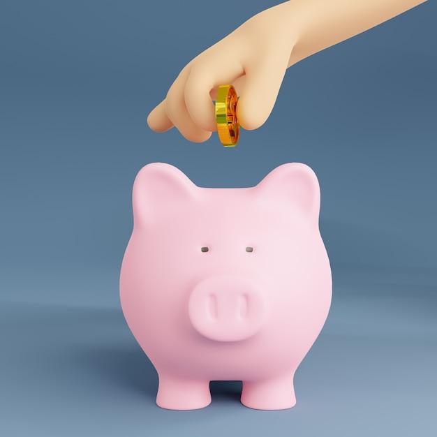 3d визуализация иллюстрации. мультяшный рука золотая монета с копилкой. Premium Фотографии