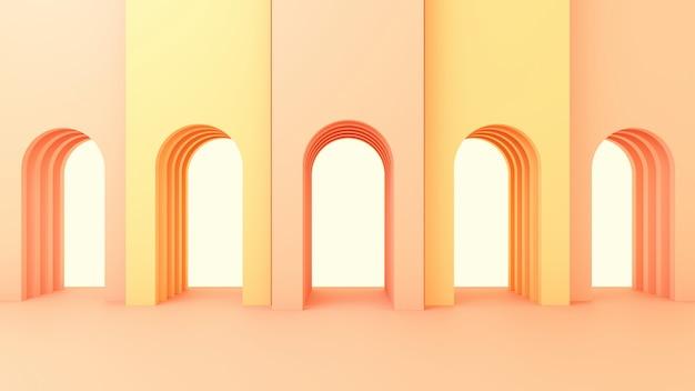 3d визуализация иллюстрации в современном геометрическом стиле арки и лестницы Premium Фотографии