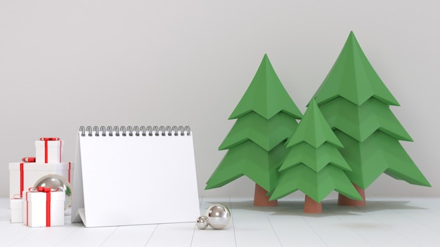 3d render image of blank calendar paper for next year goal decorate with christmas ornament scenes. Premium Photo