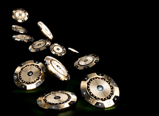 3d render image of casino chips in black and gold with diamond inserts on a dark background. Premium Photo