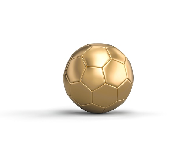 3d render image of classic soccer ball gold color on white Premium Photo