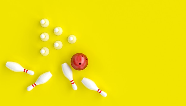 3d render image with bowling, ball and skittles on a yellow background Premium Photo