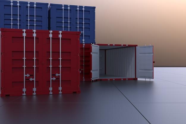 3d render industrial container for import export business Premium Photo