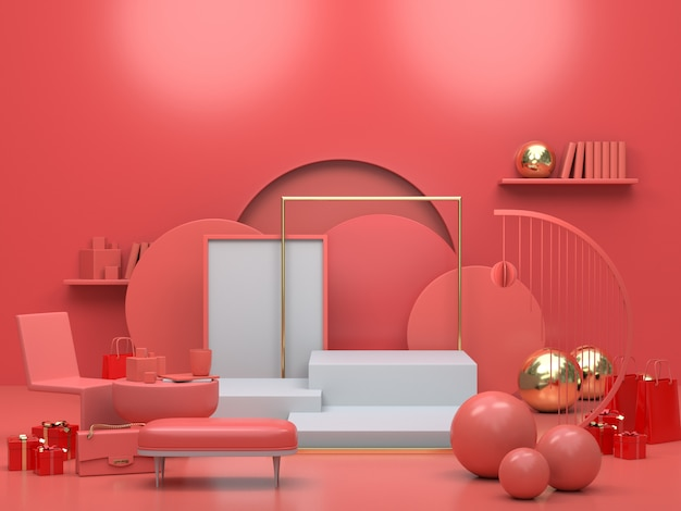 Premium Photo 3d Render Of Interior Apartment Living Room With Abstract Shapes