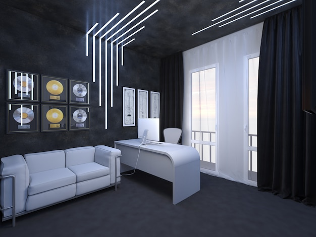 3d render of interior design of an office fate of the guitarist Premium Photo