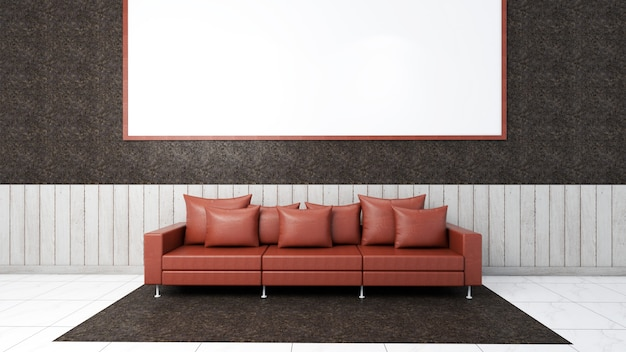 3d render of interior living room mockup, sofa and carpet Premium Photo