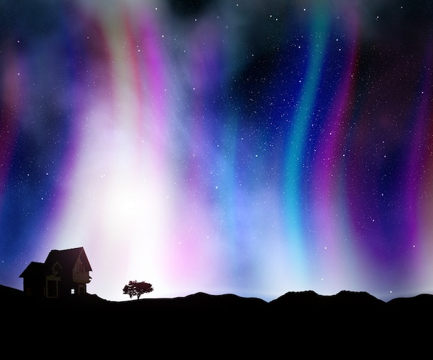 3d render of a landscape with a house against a night sky with aurora lights Free Photo