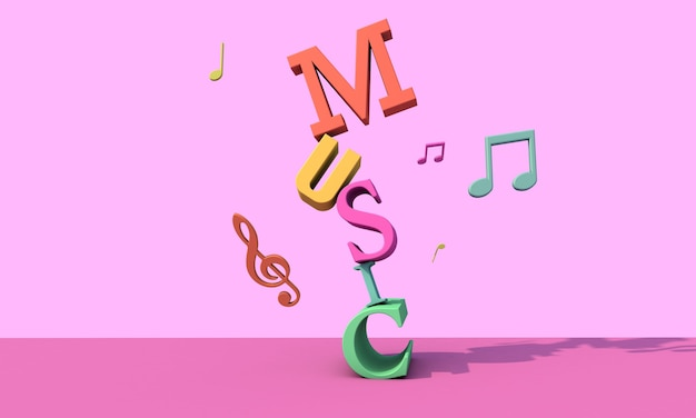 3d render letters . musical background concept Premium Photo