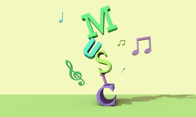 3d render letters . musical background concept Premium Photo