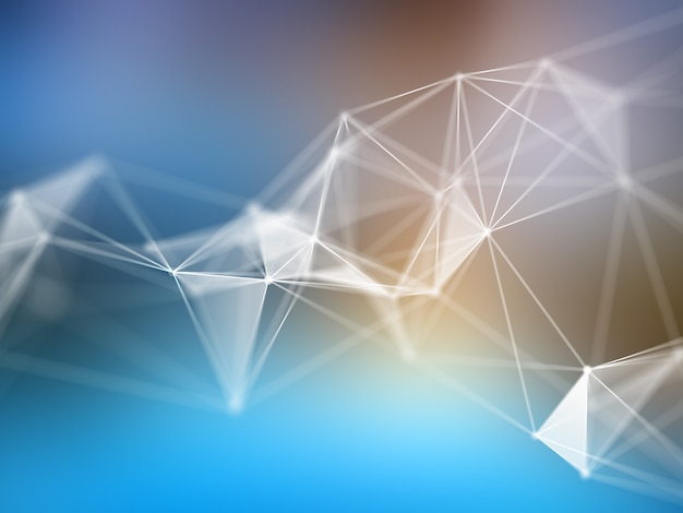 3d render of a low poly design on an abstract blur background Free Photo