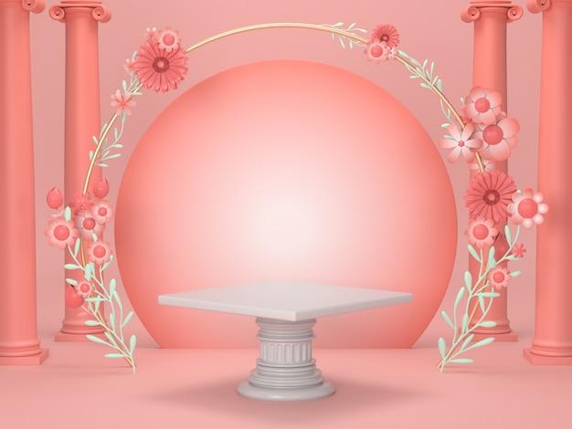 3 dレンダリング高級化粧品スタンドdisplay.pink表彰台は、ローマと花のデザインと化粧品の背景を飾る。 Premium写真