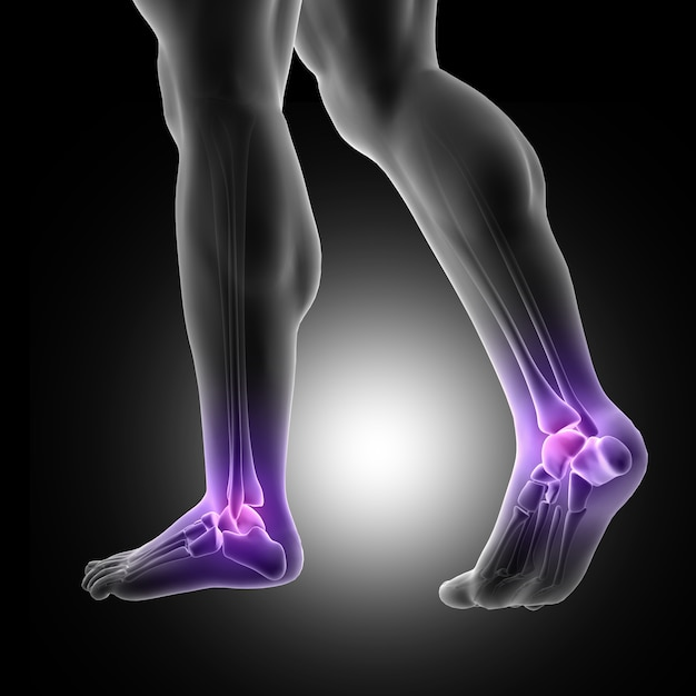 3d render of a male figure with close up of feet with ankle joints highlighted Free Photo
