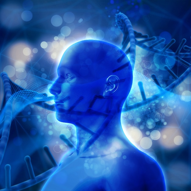 3d render of a male head with dna strands Free Photo