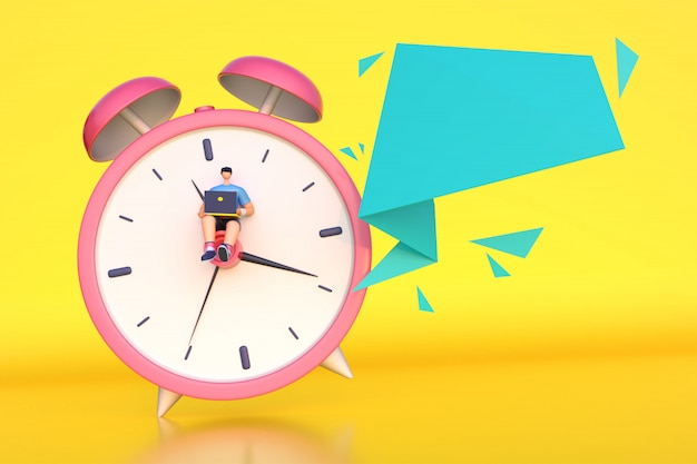 3d render of man working on time with empty message. Premium Photo
