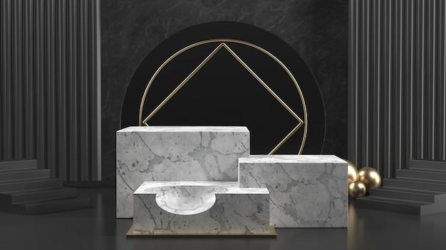 3d render of marble podiums with golden balls Premium Photo