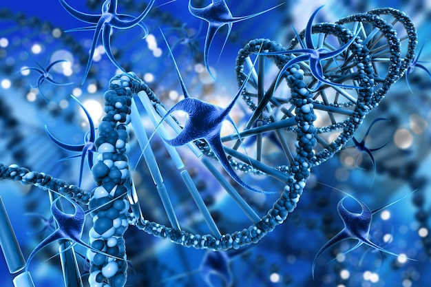 3d render of a medical background with abstract virus cells and dna strands Free Photo