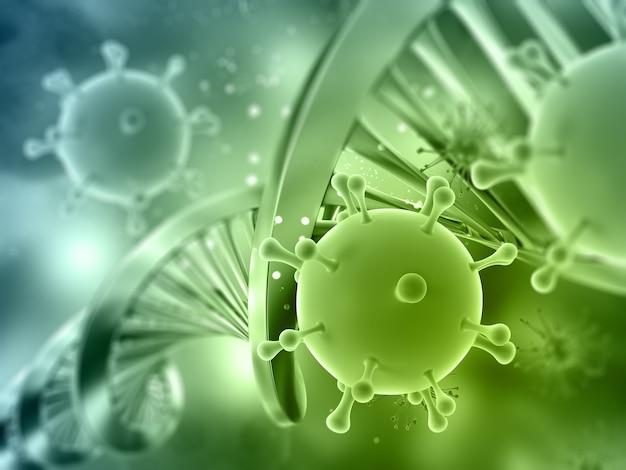Rendering 3d di un background medico con filamento di dna e cellule virali Foto Gratuite